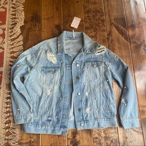 NWT Free People Pearl Denim Jacket
